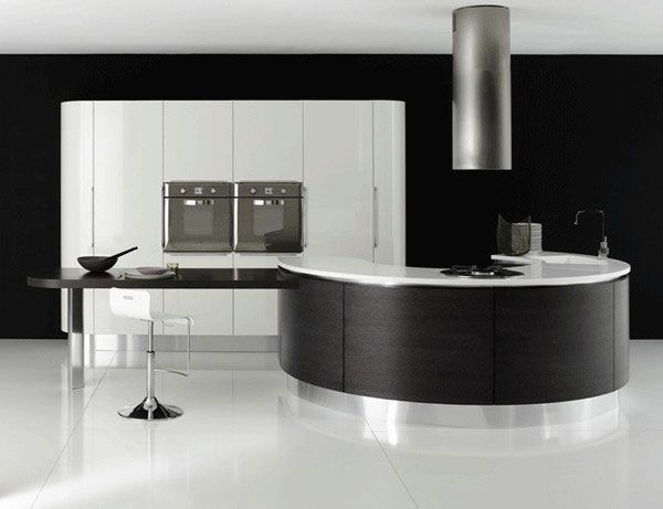Kitchen Island Designs Adds A Modern Touch To Your House With Amusing Images : Cool Half Round Modern Blackwhite Color Kitchen Island 18 With Table Bar Stool Chair White Cabinet Exhaust Tile Flooring Ideas As Mesmerizing Design