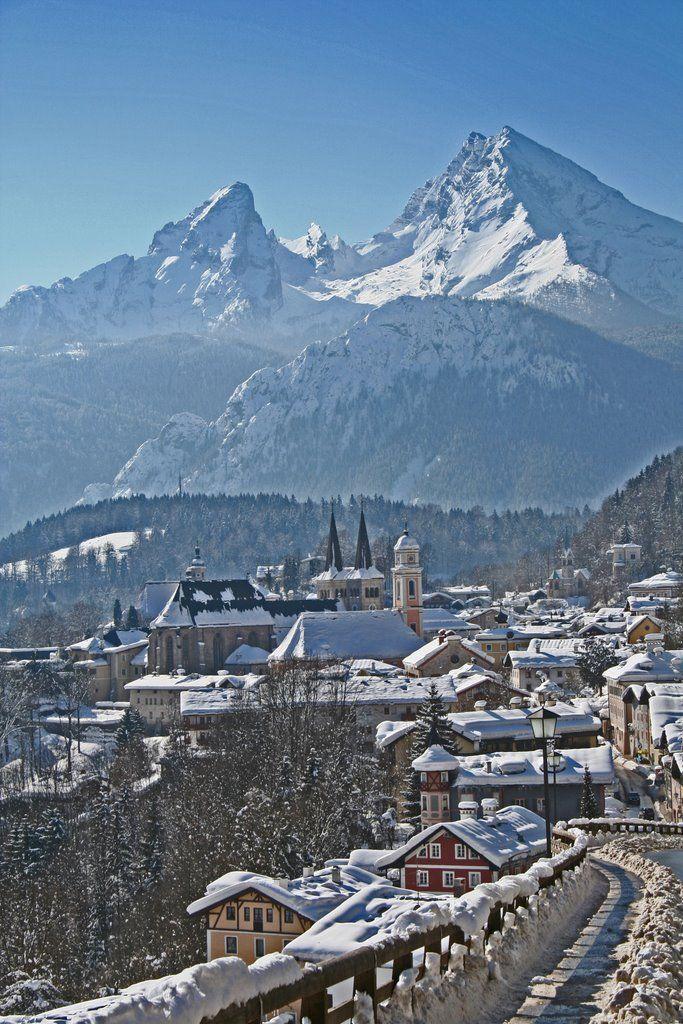 hermosas montañas de Watzmann en invierno, Baviera, Alemania.