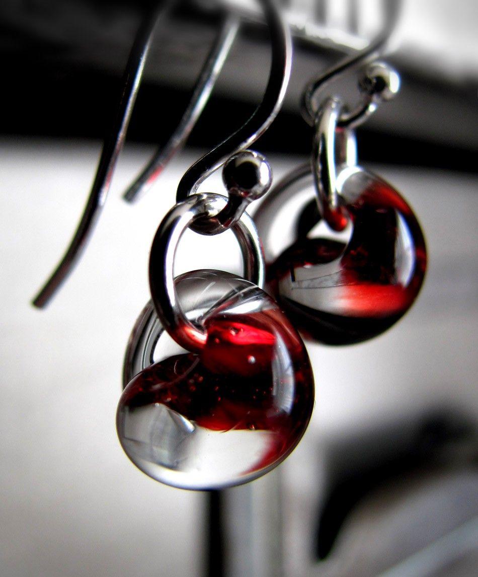 Blood Red Glass Drop Earrings