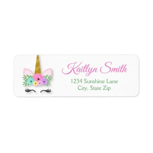 Unicorn Return Address Label Birthday Parties Party Invitations Girl Gift
