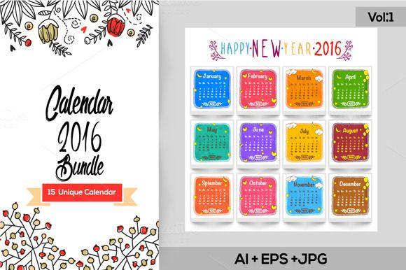15 Unique 2016 Calendars - Vol 1 2016 calendar, Web themes and