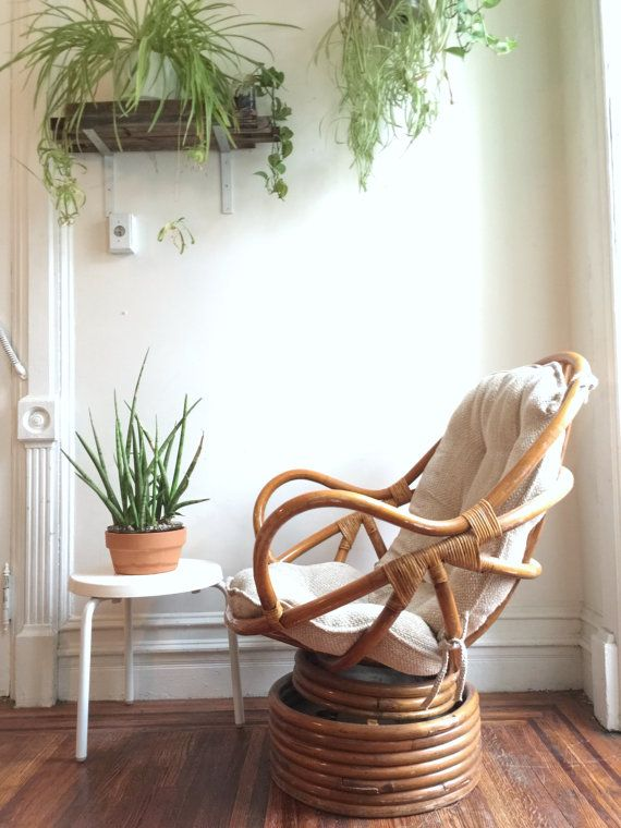 Vintage Bamboo Swivel Rocking Chair And Ottoman Rattan