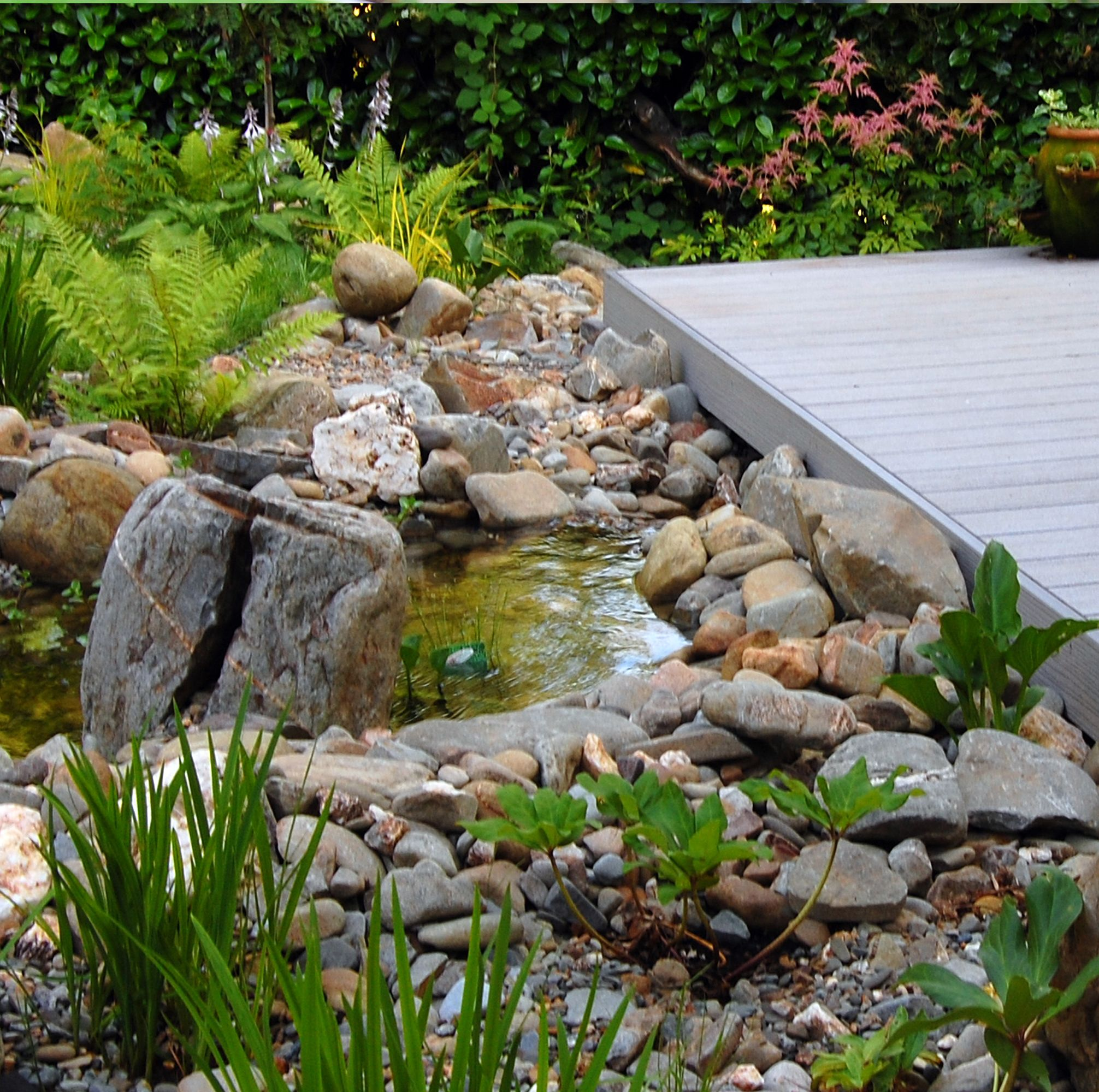 alpine pond and stream flowing under a composite deck.robert