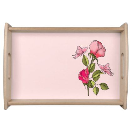 Roses And Butterflies Serving Tray   Floral Style Flower Flowers Stylish  Diy Personalize