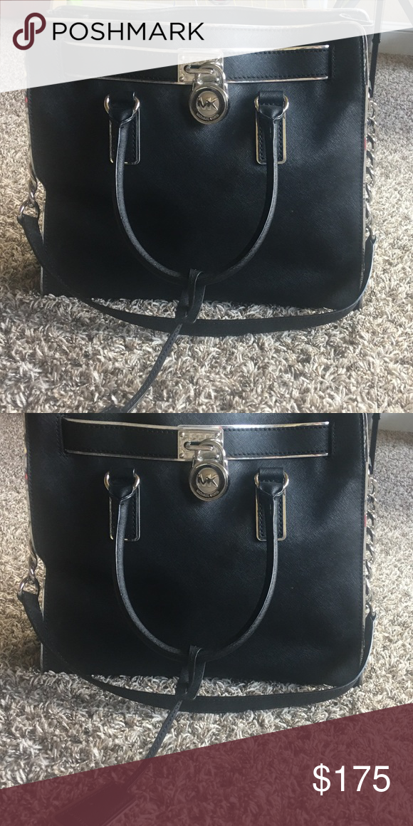 0235adfbc5accf Michael Kors Hamilton Purse The purse is large and black with silver  hardware. It is used with no dust bag. Great condition Michael Kors Bags  Totes