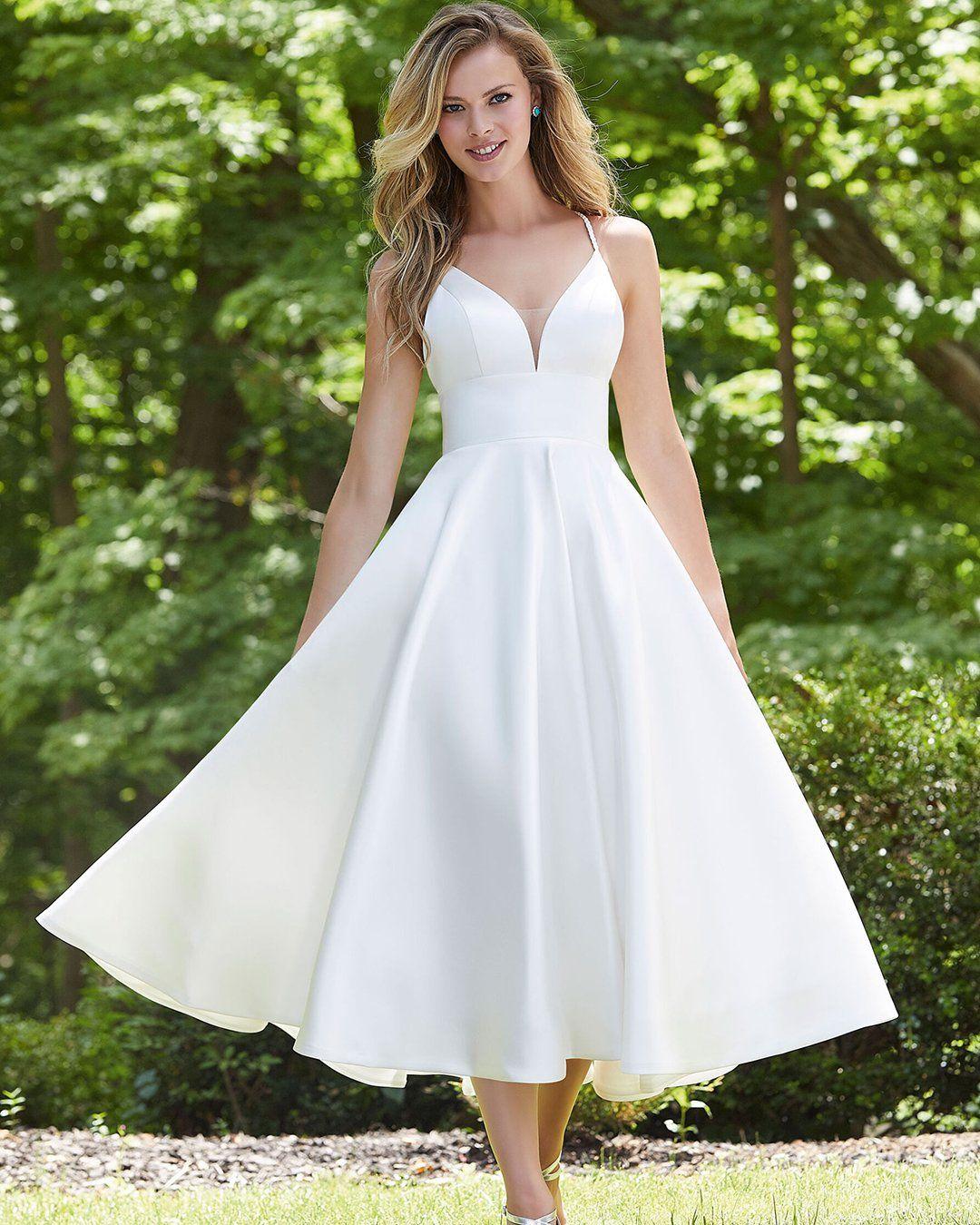 24 Gorgeous Tea Length Wedding Dresses In 2021 Satin Wedding Gown Midi Wedding Dress Tea Length Wedding Dress [ 1350 x 1080 Pixel ]