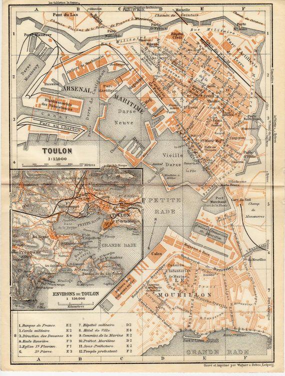 1914 Toulon France Antique Map ProvenceAlpesCtedAzur Var