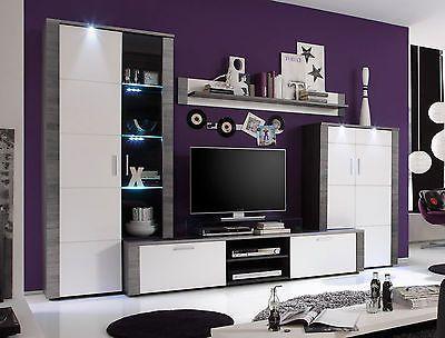 Wohnzimmer Wohnwand Schrankwand weiß und Esche grau mit LED