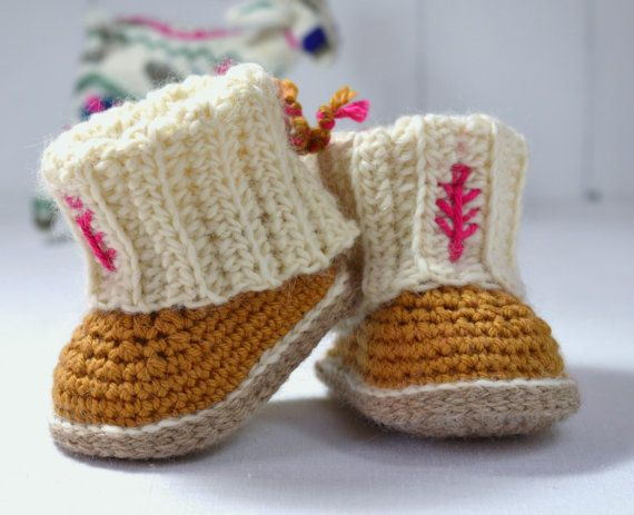 CROCHET PATTERN Baby Booties with Rib Cuffs 4 Sizes Baby Booties ...