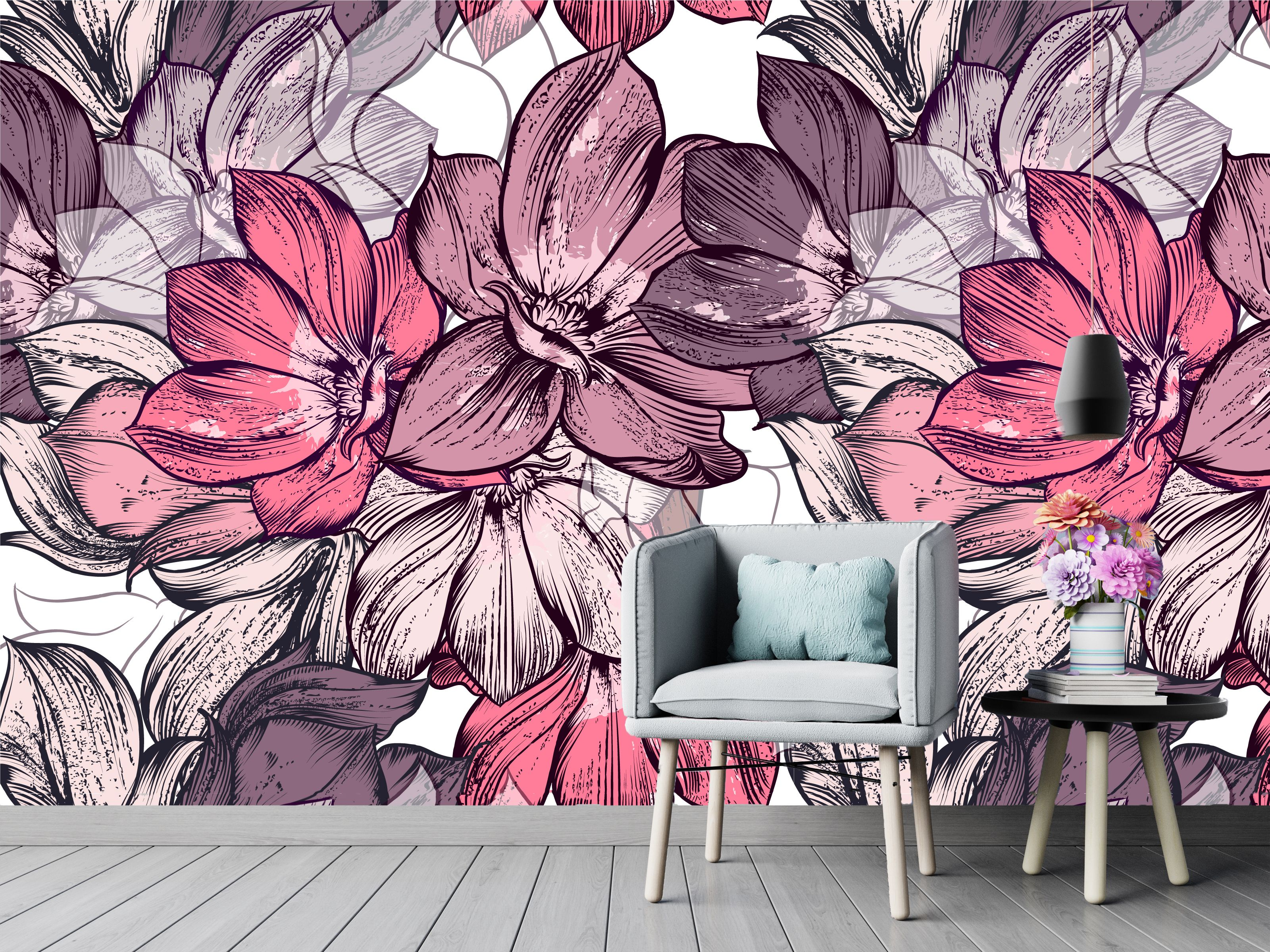 Watercolor flowers * Removable Mural * Floral Peel & Stick