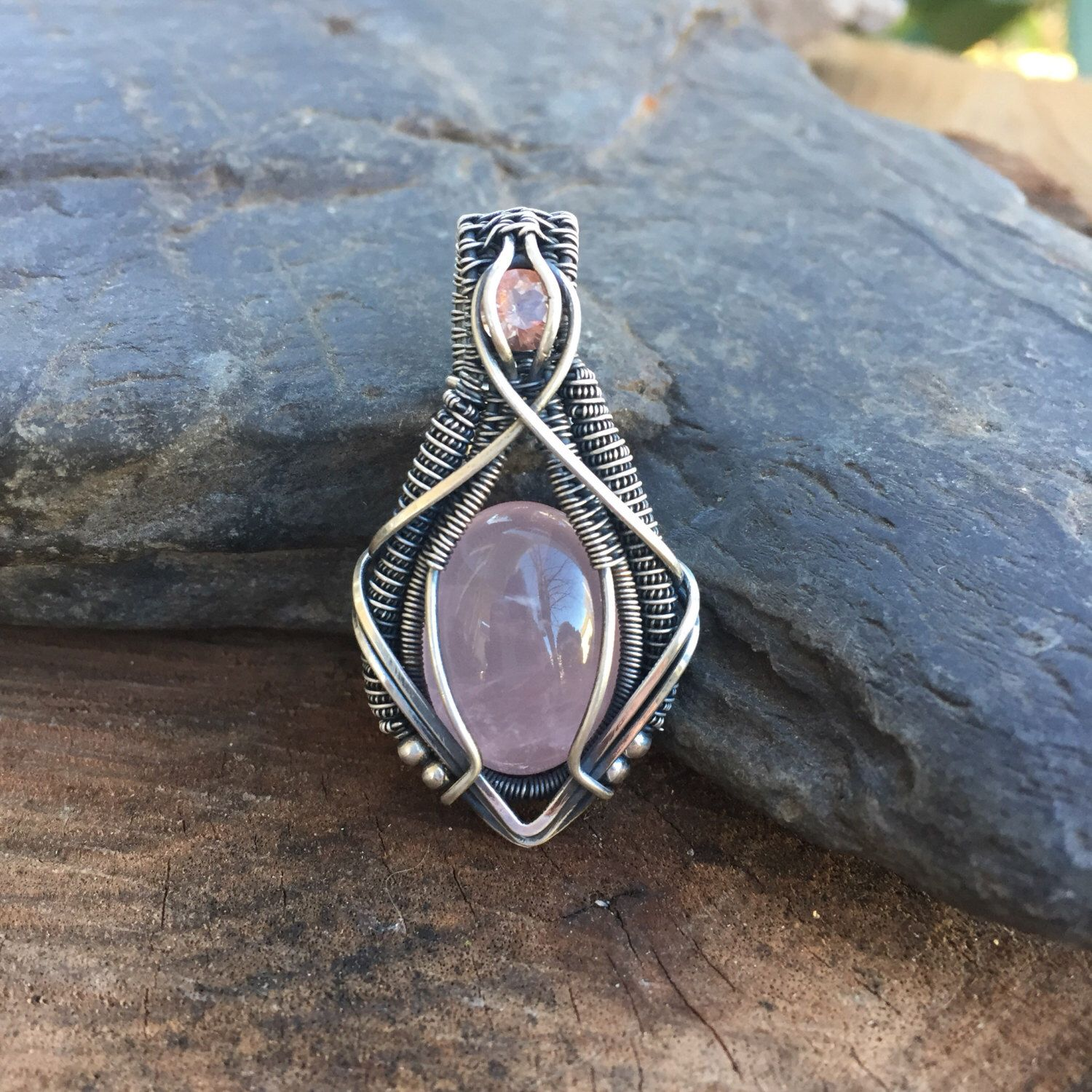 Rose Quartz and Sunstone - Wire Wrapped Pendant - Heady Wire Wrap ...