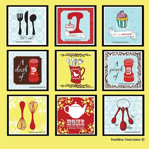 Kitchen Art Prints Nine 5x5 Prints in Any Custom by Freshline ...