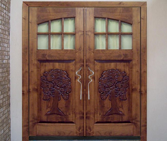 Craftsman carved knotty alder wood front entry door style for Knotty alder wood doors
