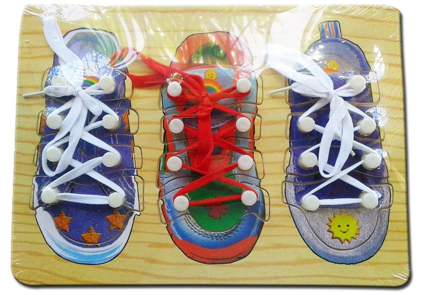 Wooden Puzzle Board Lacing Shoelace Php 450 Motivate Them To Tie