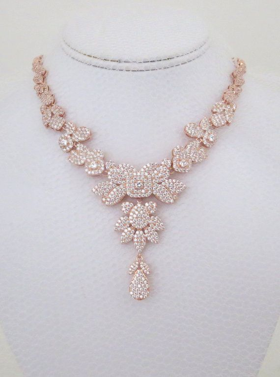 Rose gold glitter statement necklace and earrings set new with tags