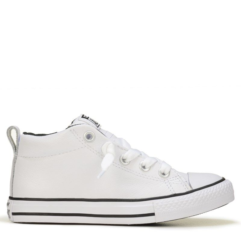 5a8c774a226f Converse Kids  Chuck Taylor All Star Street Mid Top Leather Sneakers (White Black  Leather) - 13.0 M