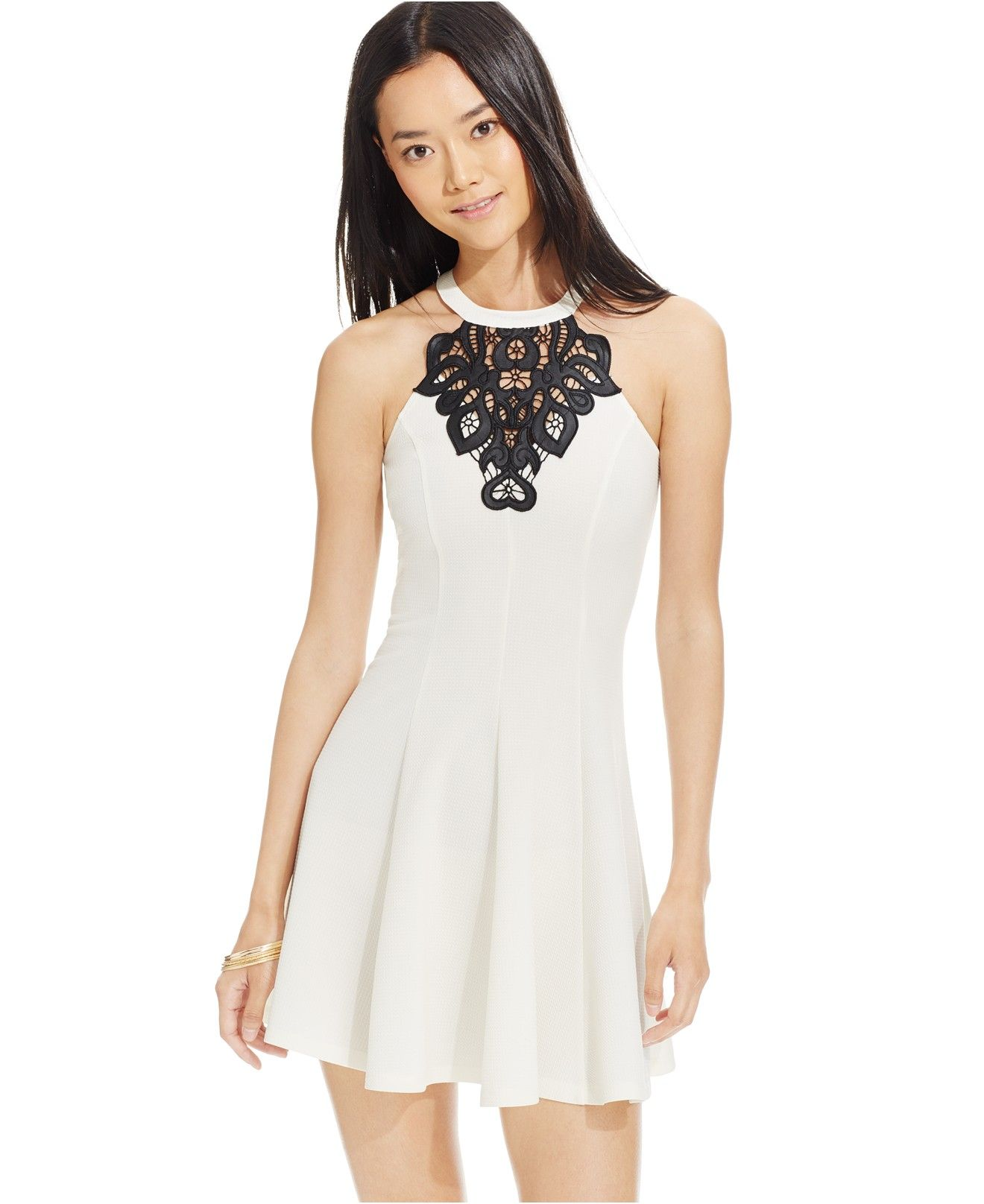 Material Girl Juniors' Embroidered Medallion Fit-and-Flare Dress ...