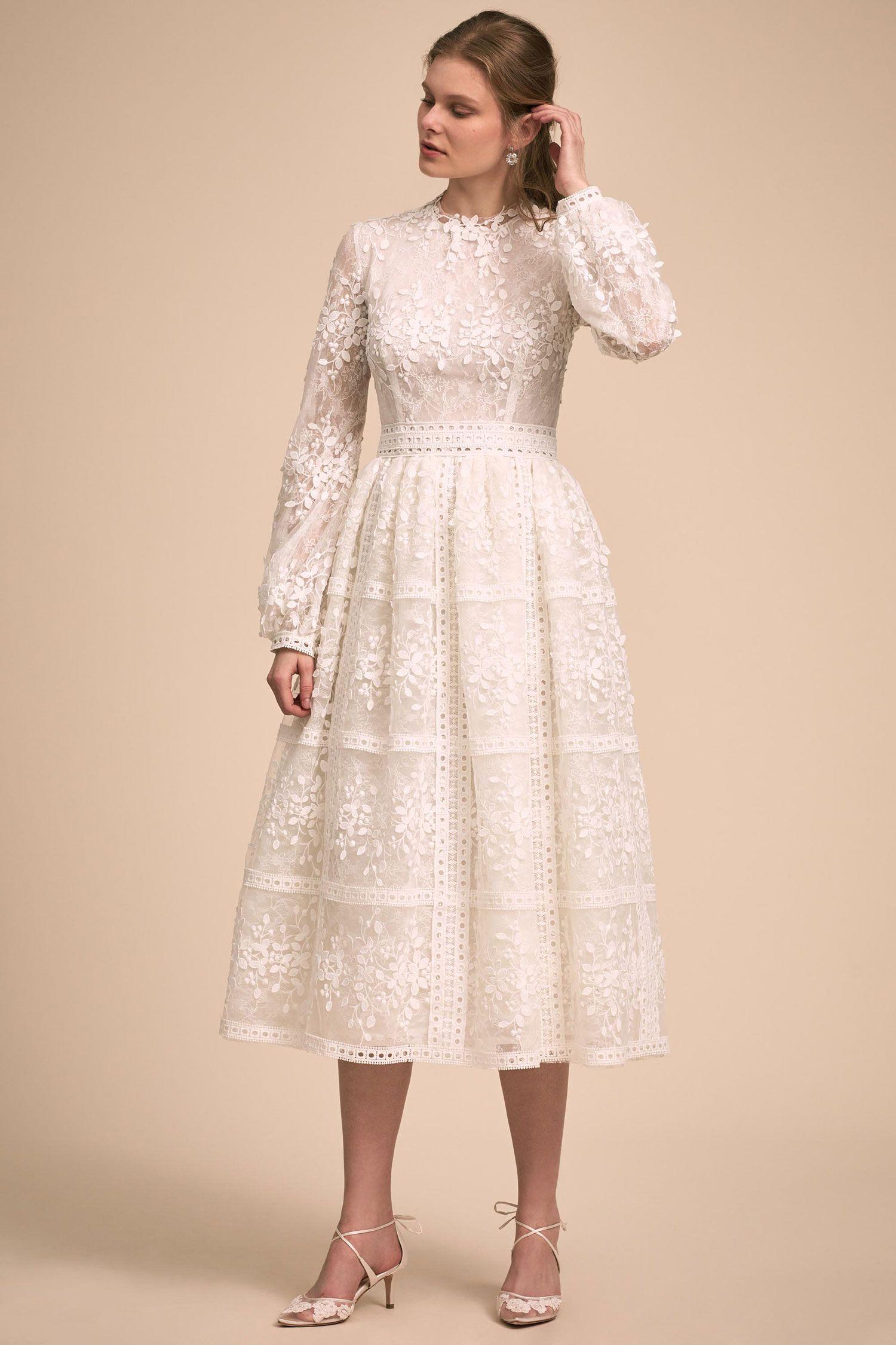 e704e1d4c21b BHLDN The Designer Collective Shaw by Costarellos long sleeve tea length  wedding dress