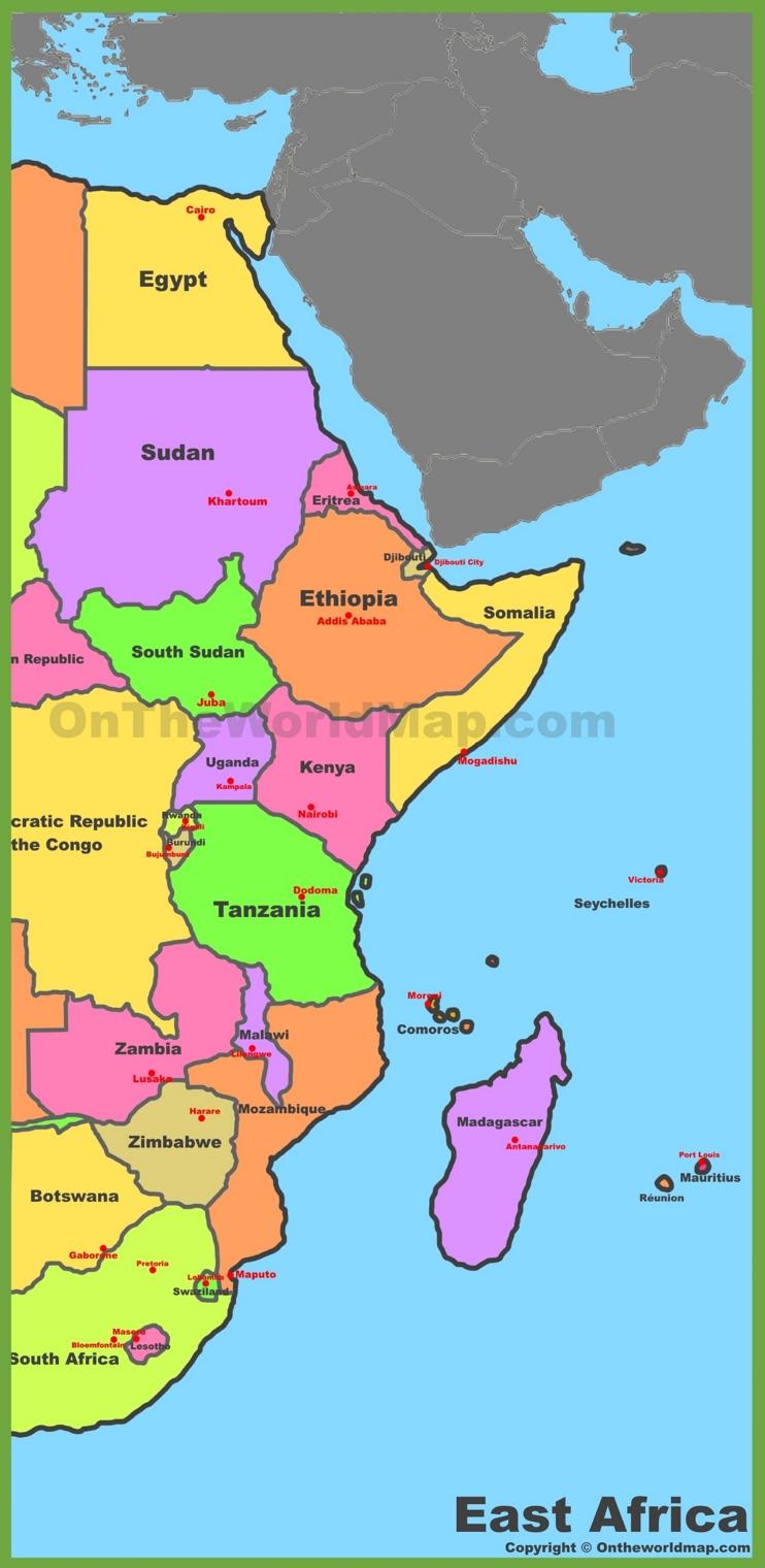 Map Of East Africa Africa East Africa Africa Map