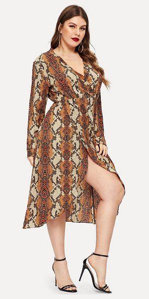 969890cf92 SheIn snakeskin print surplice front chiffon dress. #shein #plussize  #plussizefashion