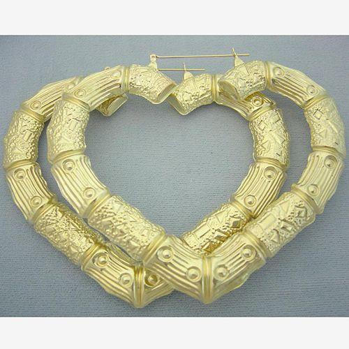 10k Yellow Gold Heart Door Knocker Bamboo Hoop Earrings 3 1 2 Inch