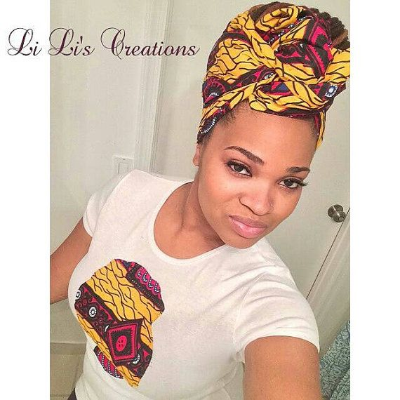 Li Li AfroT and Head Wrap set made from African by LiLiCreations