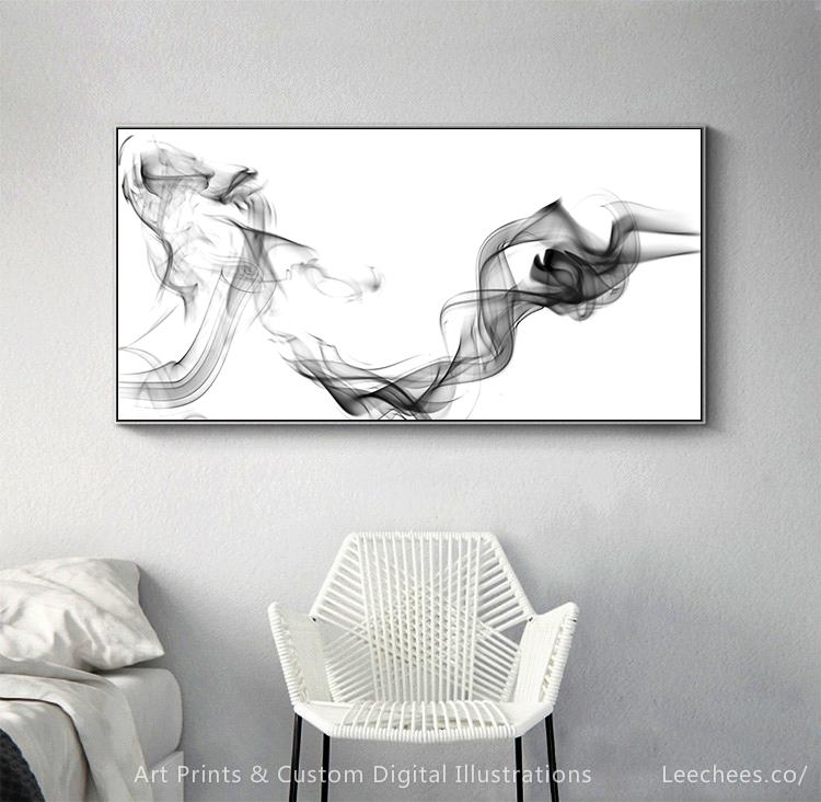 Horizontal Abstract Painting Fantasy Grey Smoke Silky Illusion Ink Dance Art In 2020 Smoke Art Black And White Wall Art Abstract Digital Art