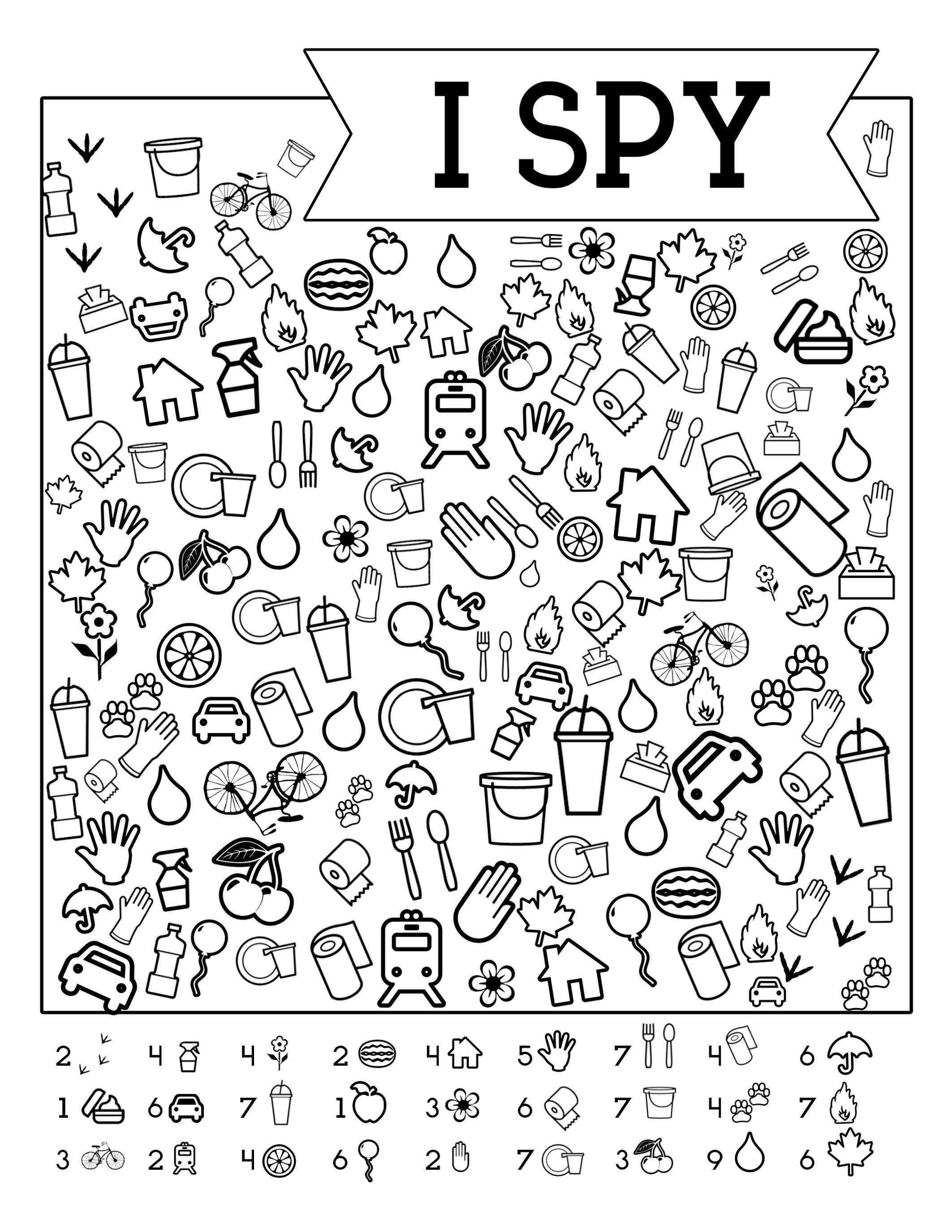 I Spy Free Printable Kids Game