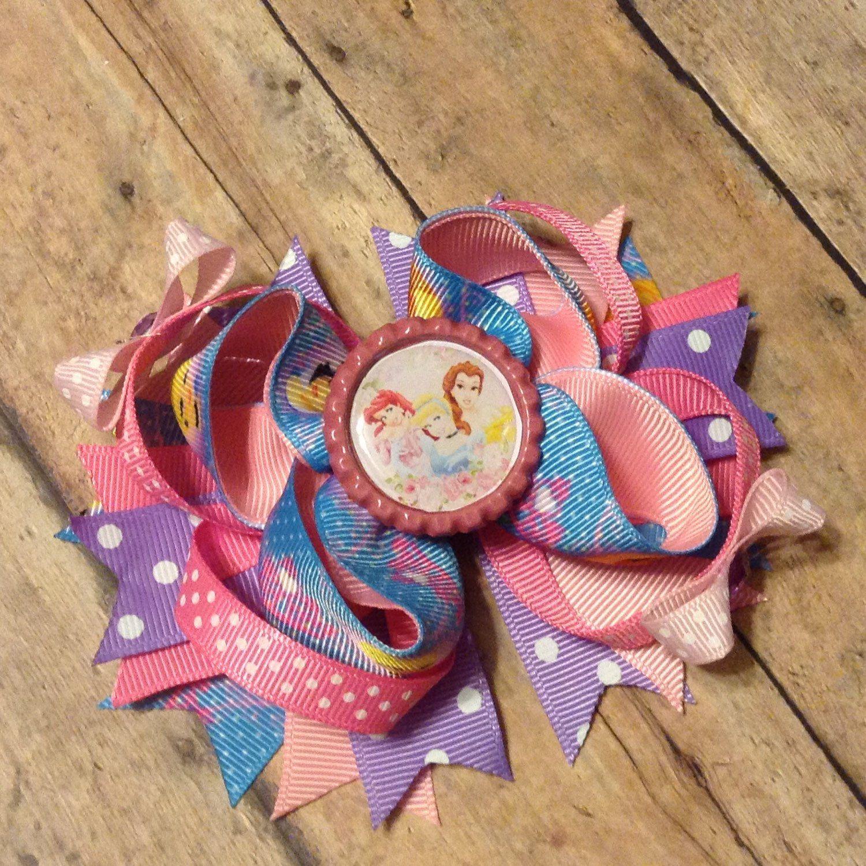 Disney Princesses Inspired Hair Bow / Princess Inspired Birthday Hair Bow  / Gift by BBgiftsandmore on Etsy