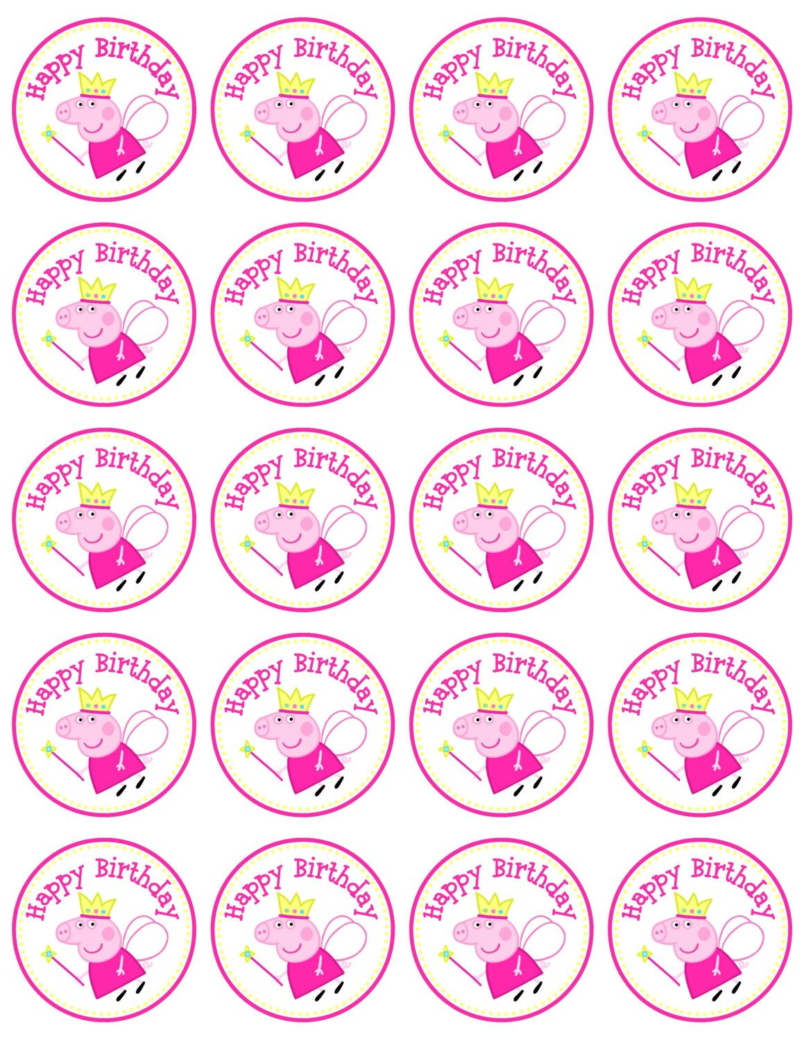 instant download peppa pig favor tag circle by annamariedesign