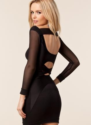 Quontum 3/4 Sleeve Mesh Cross Back Dress in Black, Dress, 3/4 mesh sleeve strap dress, Chic