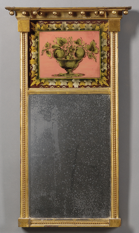 Federal Eglomise Mirror Carved Wood Gilt Gesso And