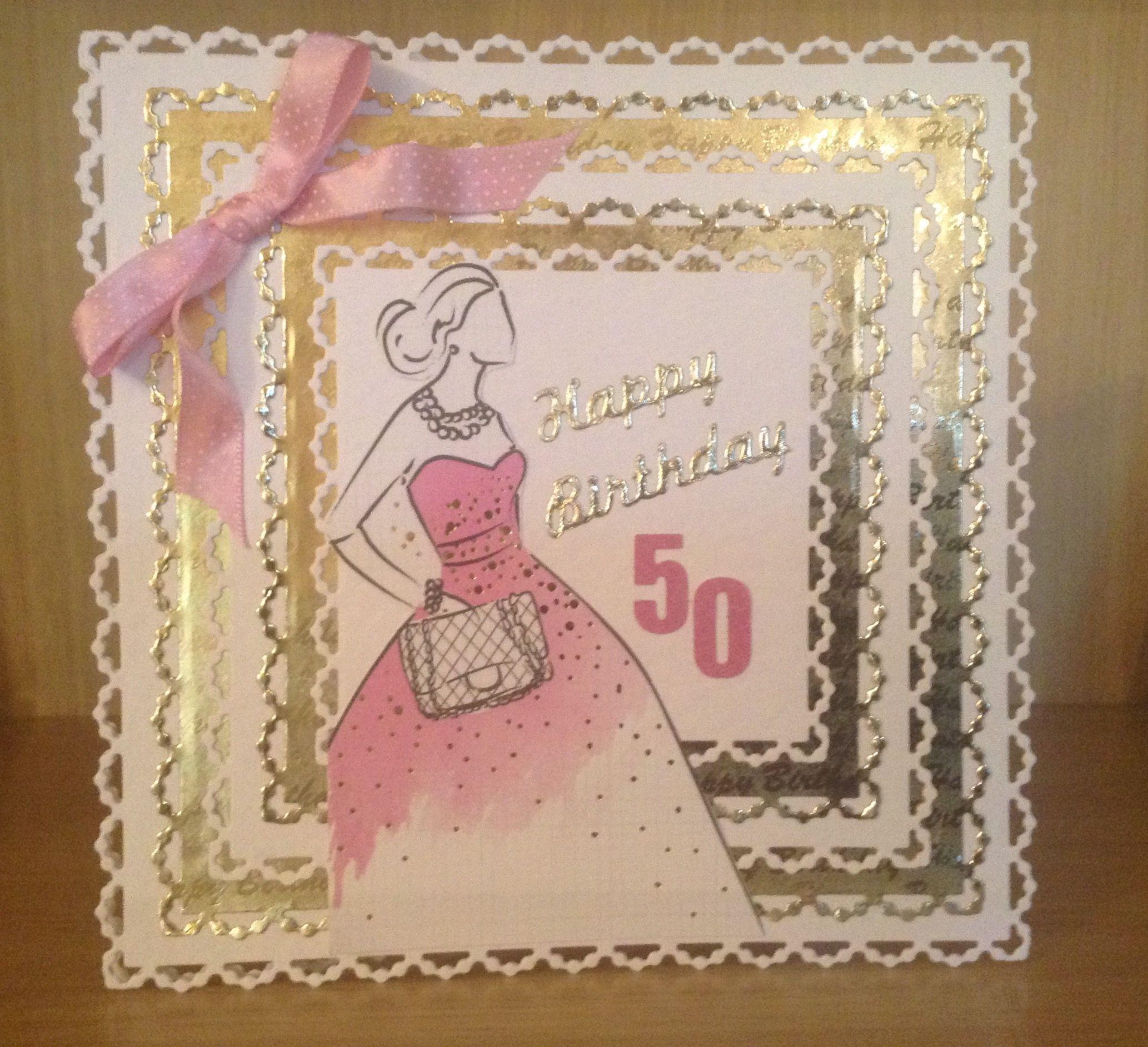 Handmade ladies th birthday card using craftwork cards fabulous