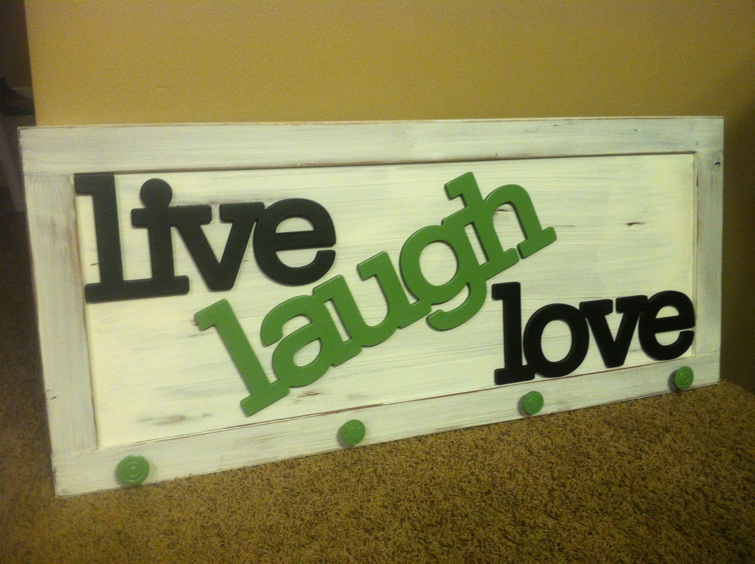 Wall coat rack. Repurposed cabinet door. Live laugh love www ...