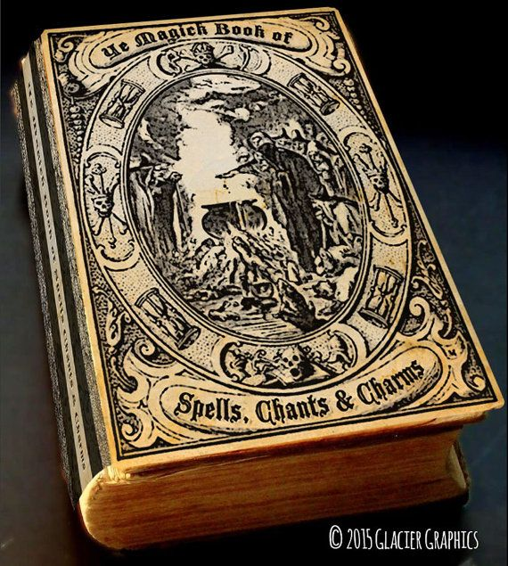 Halloween Book Cover Ideas ~ Vintage witch spell book cover halloween digital