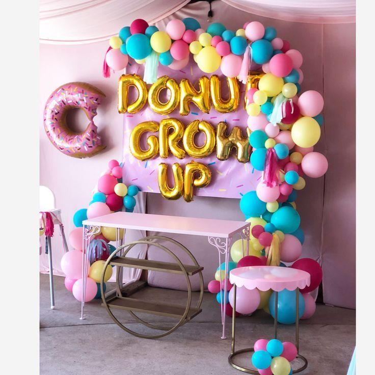 Donut grow up 1st birthday balloon garland and garland