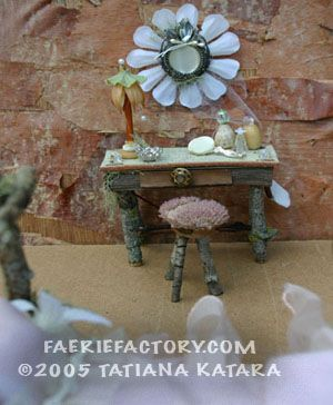 Faerie Interiors   Faerie Furniture   Faerie Castles & Kingdoms  workshops    About Tatiana    FAERIE BATHING ROOMS AND VANITIES   The bathing room is a recent addition to the modern faerie home. Although many faeries are still content to bathe in a spring or other fresh body of wate