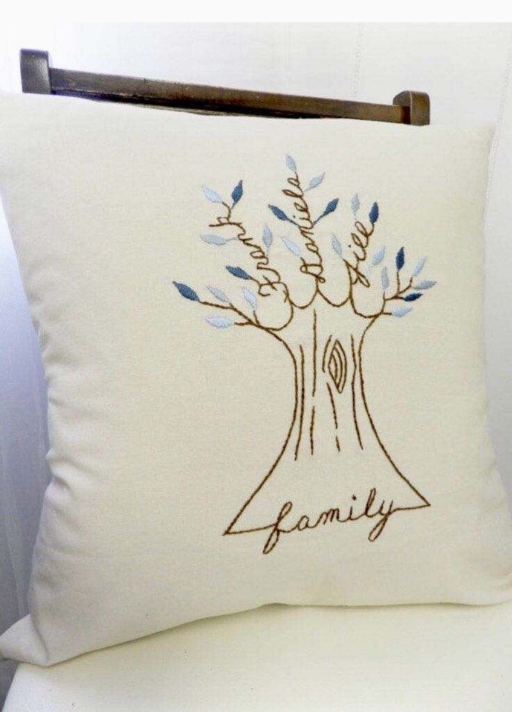 Personalized Family Tree Pillow Cover. Mothers Day Gift Gift for mom. Personalized Cushion. Shades of BLUE. Family Pillow. Anniversary gift.