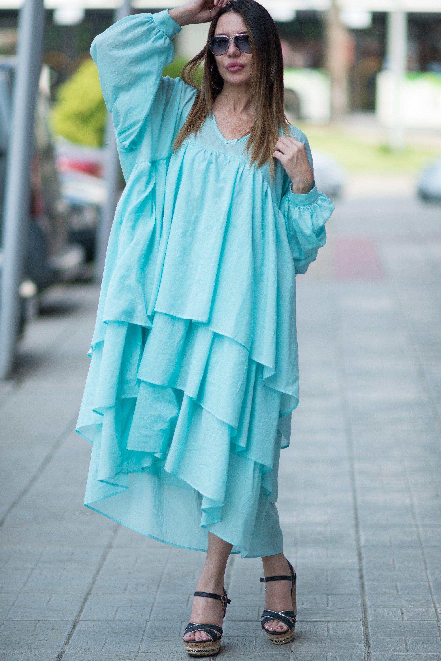 Light Blue Maxi Dress, Summer Flounces Dress, Cotton Party Dress ...