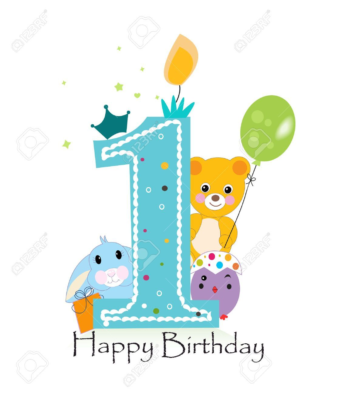 Stock Vector Happy first birthday, First birthday wishes