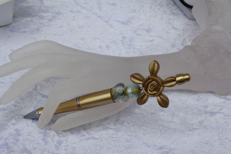 Kugelschreiber - Schmuck Kugelschreiber Perlen gold satiniert Herz  - ein Designerstück von trixies-zauberhafte-Welten bei DaWanda