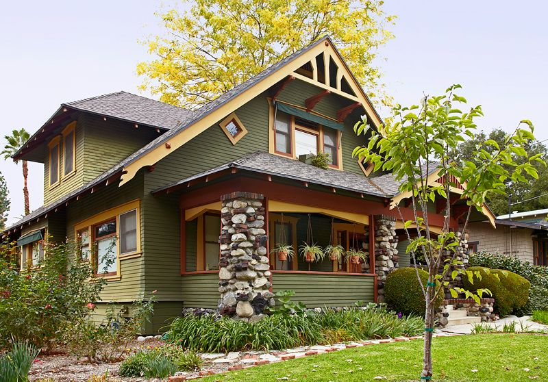 The Distinctive Bungalow Is One Of The Most Photographed Homes In  Pasadenau0027s Bungalow Heaven District.   Olive Green Siding With Russet Gold  Trim