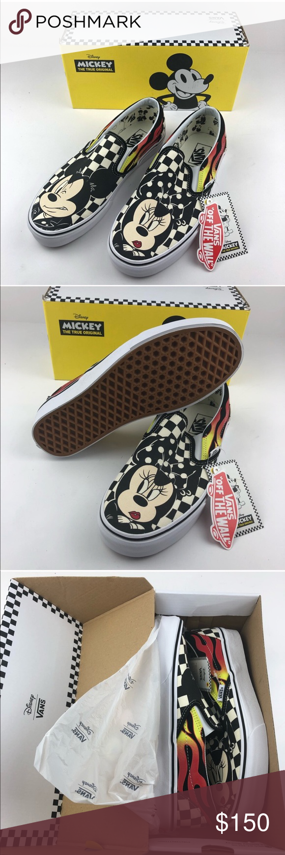 Vans Disney Mickey Mouse Limited Edition Flames Nwb 90th