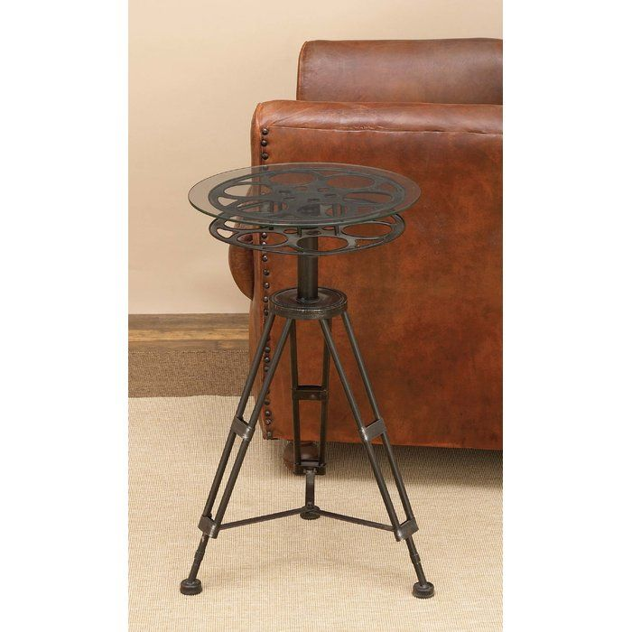Updated traditional glass top wrought iron movie reel end table