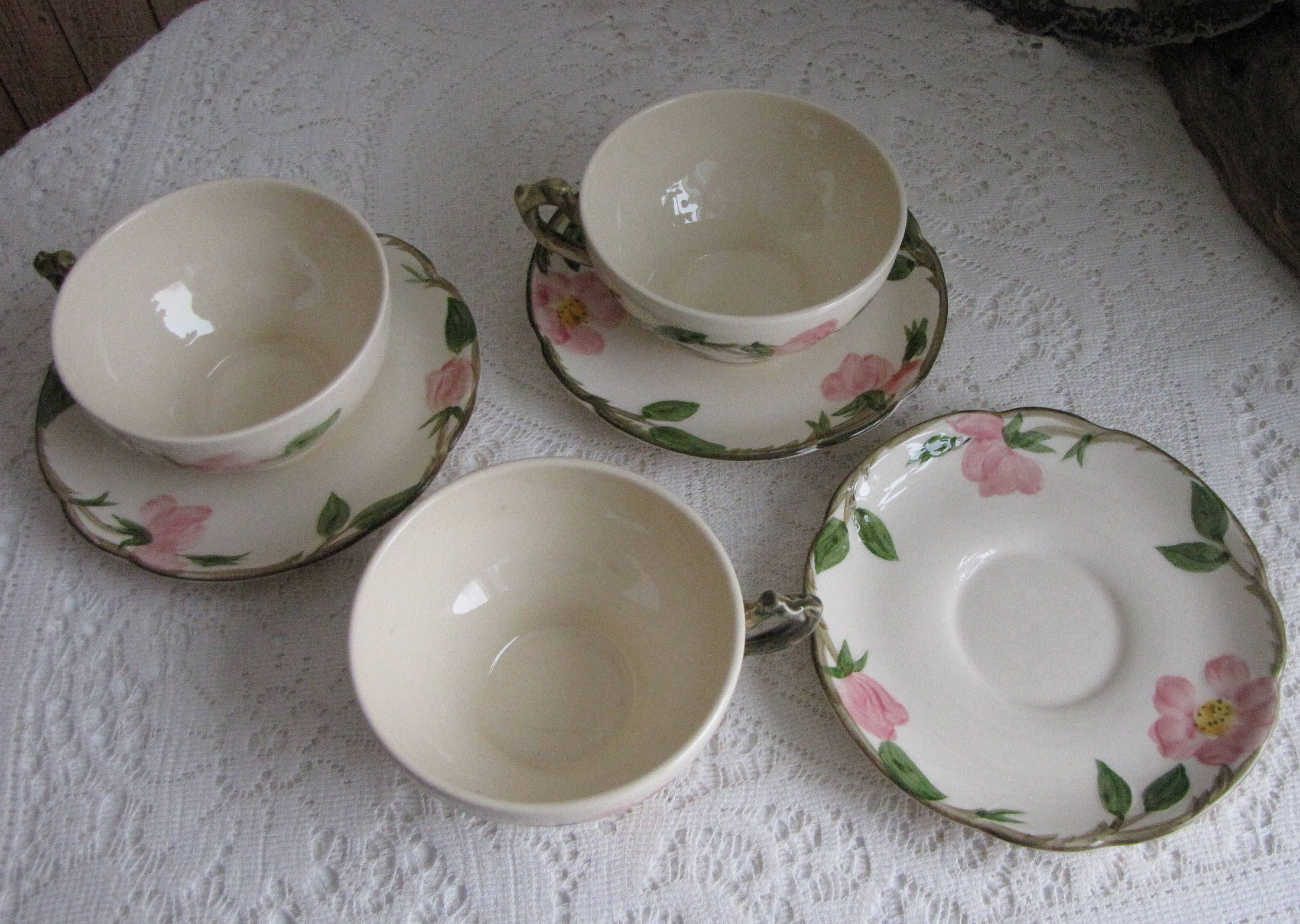 Franciscan Desert Rose Cups and Saucers Vintage Dinnerware and Replacements Set of Three (3) & Franciscan Desert Rose Cups and Saucers Vintage Dinnerware and ...