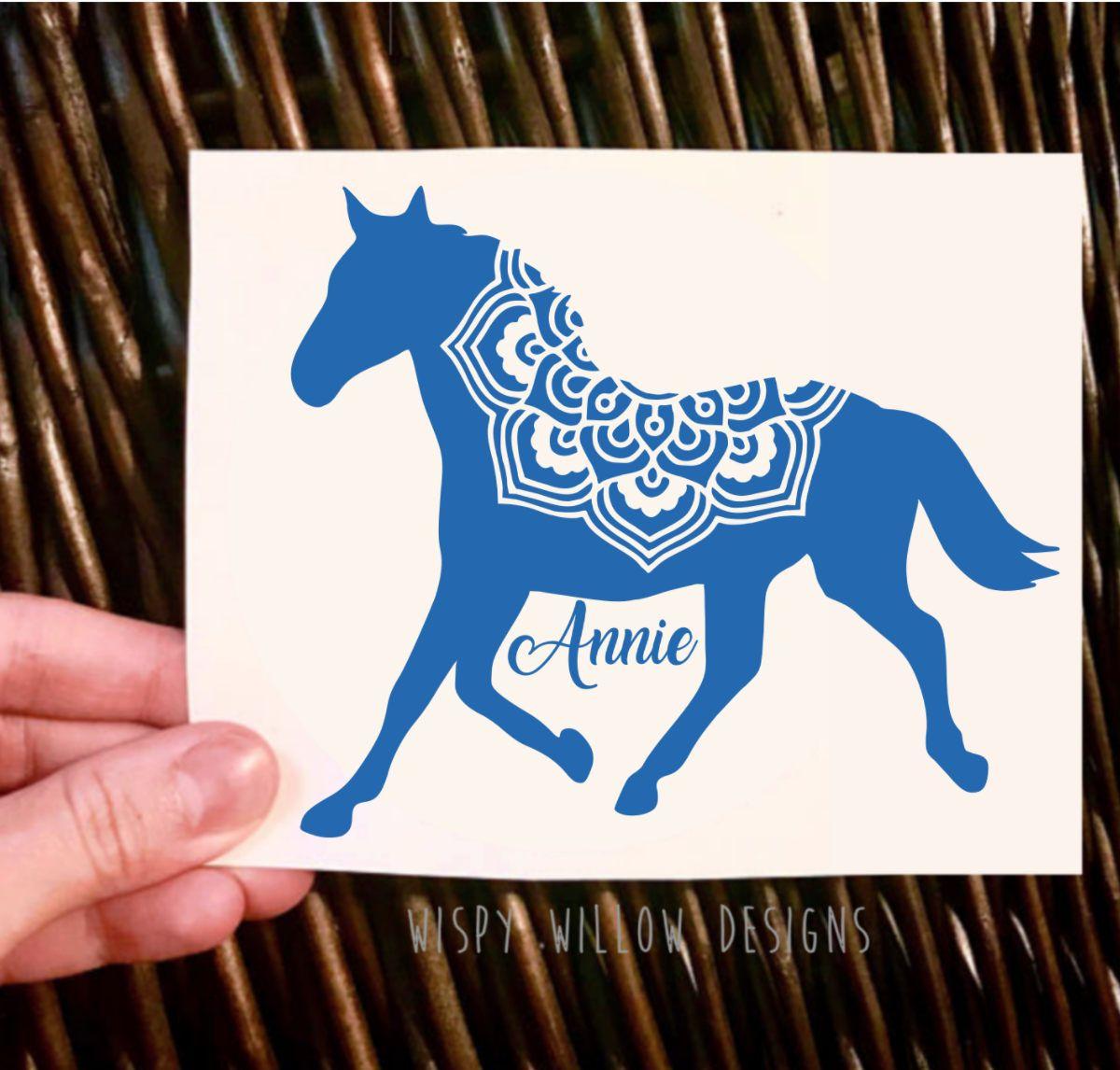Horse name vinyl decal mandala horse decal yeti decal boho decal car decal car sticker mandala personalized custom name decal by