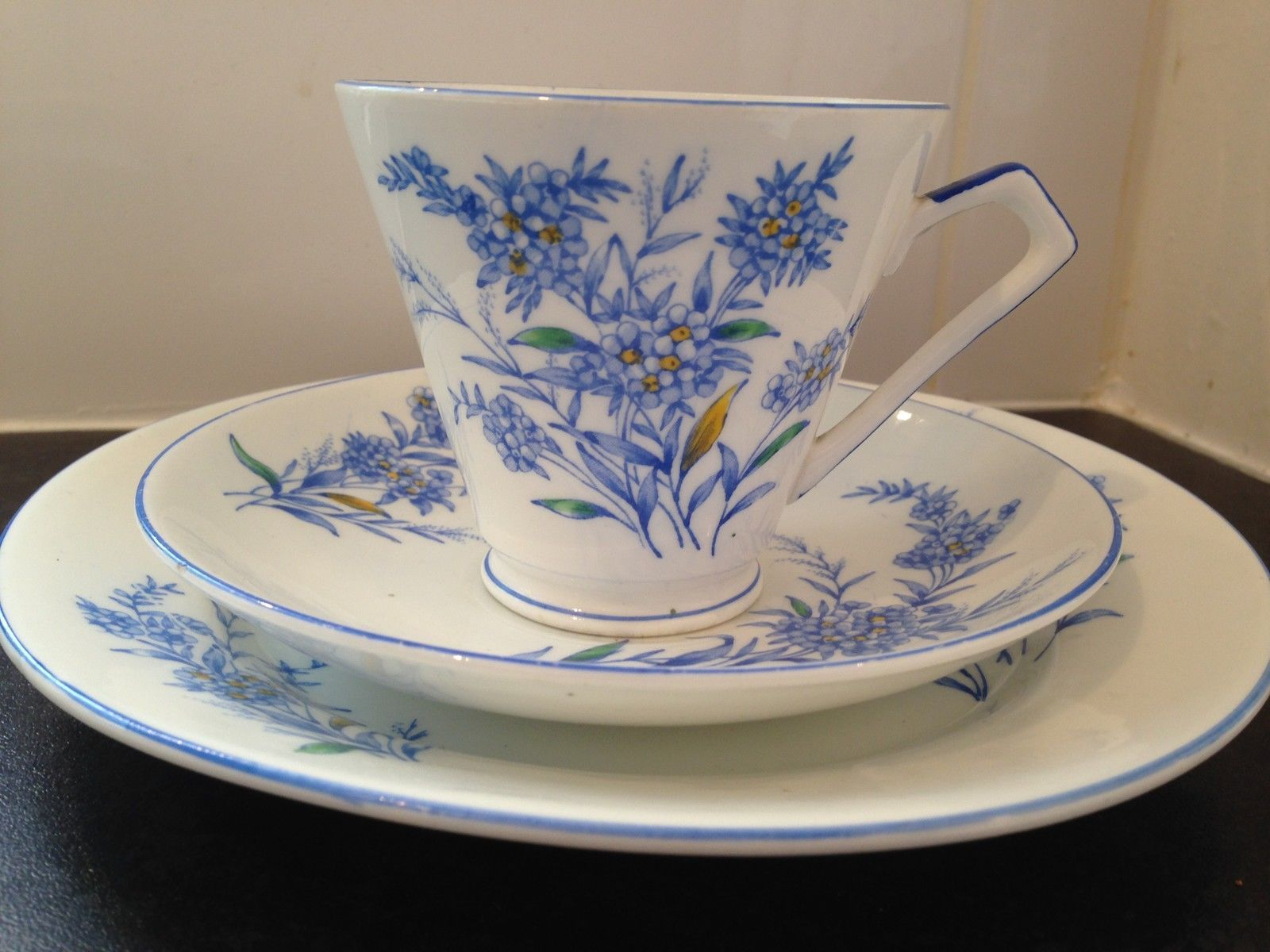 Royal albert bone china tea cup amp saucer winsome pattern ebay - Decorative Art Deco Style Blue Flower Bone China Trio Cup Saucer Side Plate A