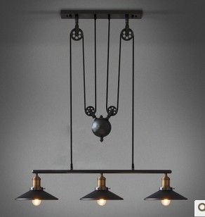 Loft Can Lift Pulley Mahjong Lamp Retractable Iron Pendant Light