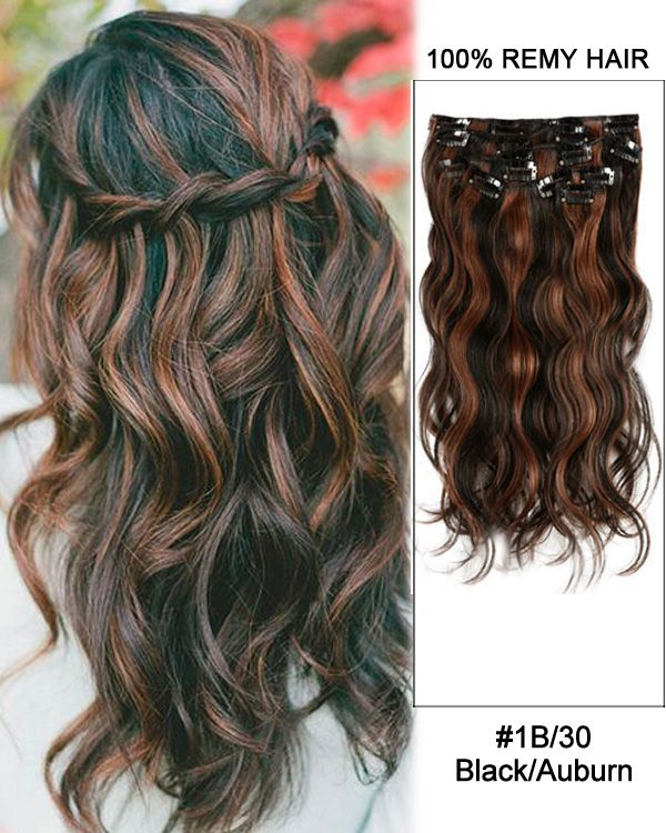 14 7pcs 1b30 Blackauburn Body Wave 100 Remy Hair Clip In Human