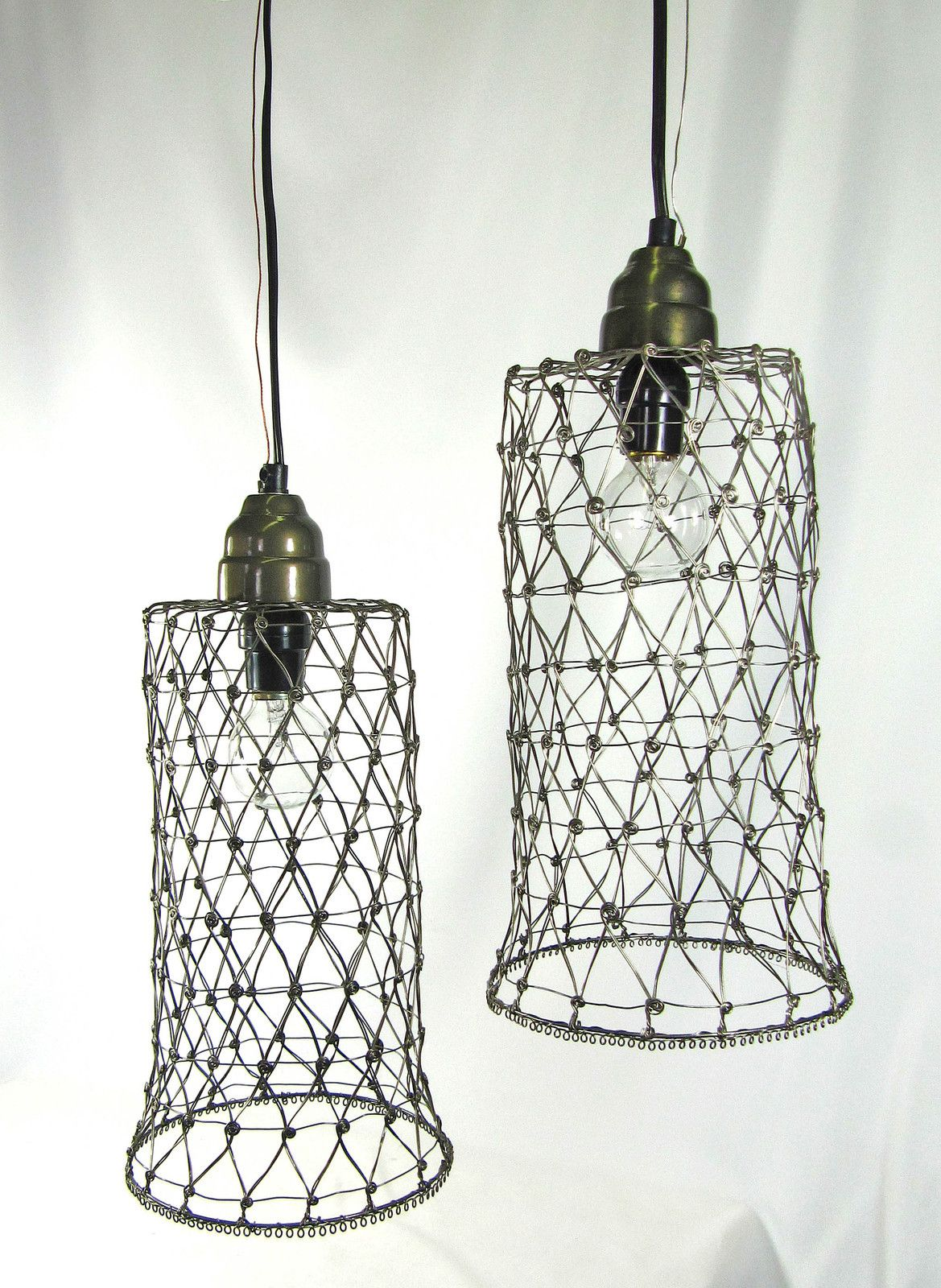 PAIR Hanging Pendant Lights Lamps Industrial Custom Pewter Wire ...